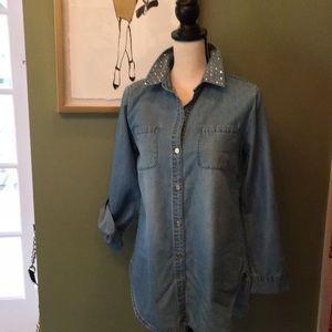 Chico's gold studded jean shirt